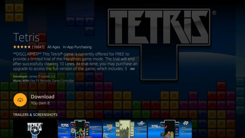 tetris game firestick