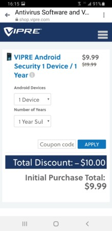 Buy VIPRE Android Security
