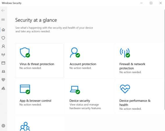 Virus and Threat Windows