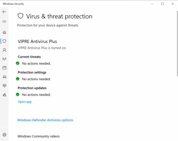 Windows Defender Antivirus options