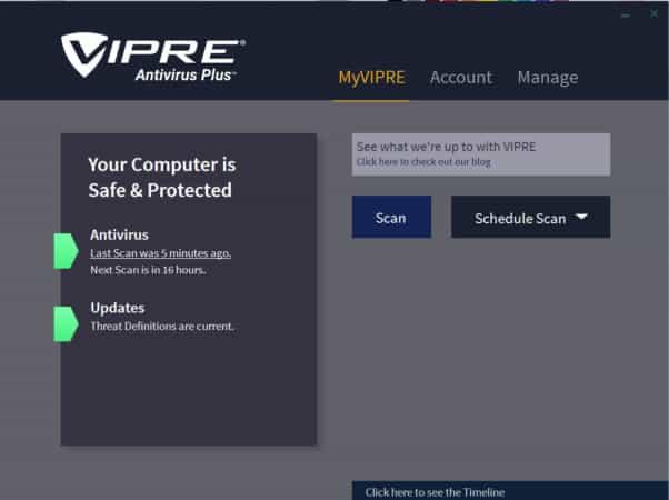 vipre antivirus interface
