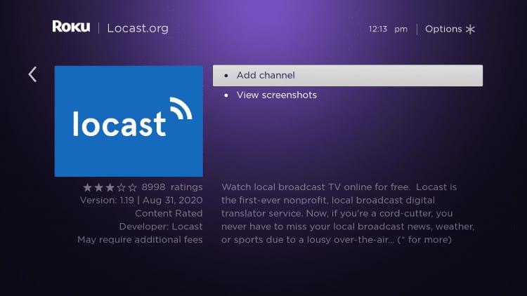 add channel locast Roku