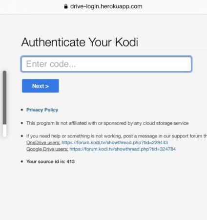 authenticate your Kodi