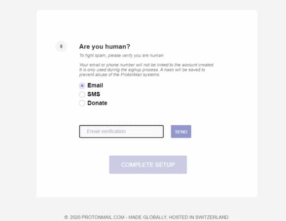 proton mail verification