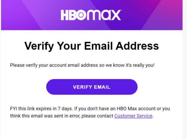 verify email hbo max