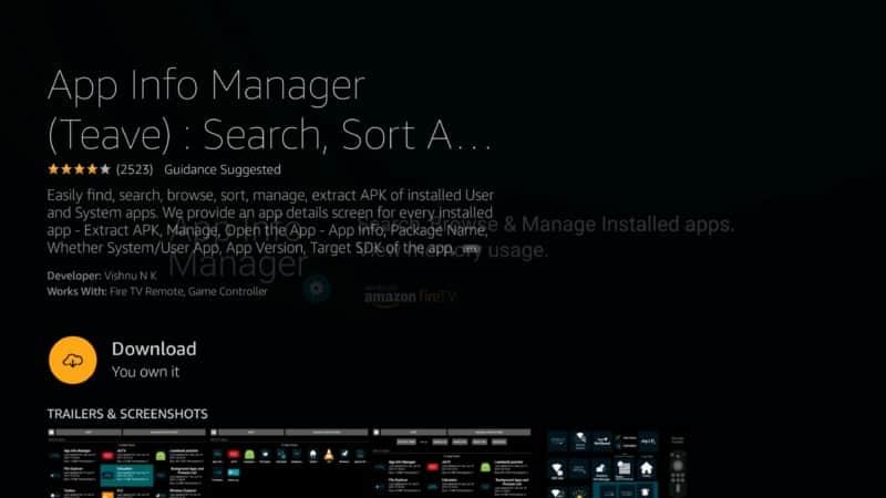 app info manager download on Firestick