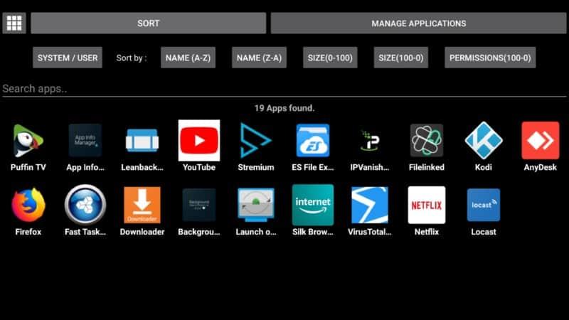 app info manager sort files