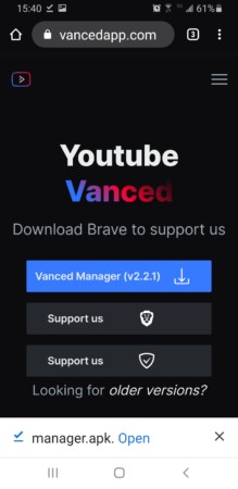 open manager.apk Youtube Vanced