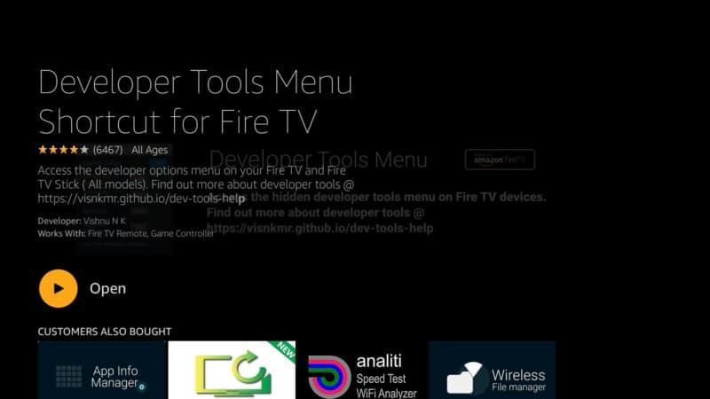 Open Developer tools menu shortcut for Fire TV