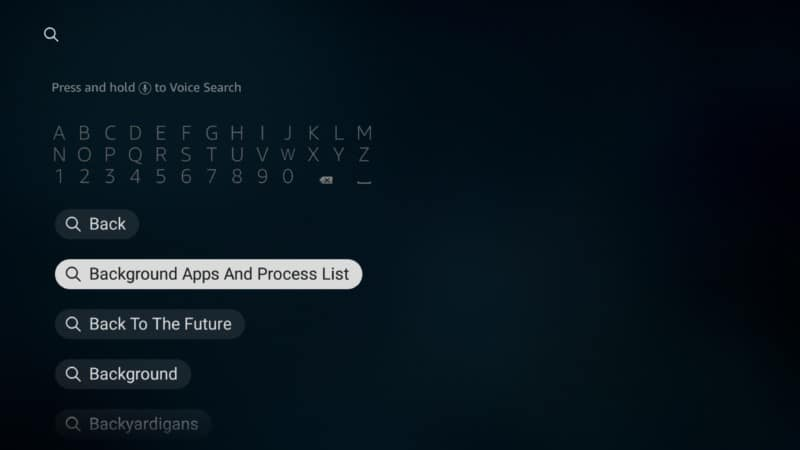 background apps and process list firestick