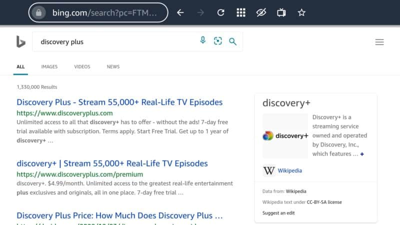 discovery plus via Silk browser