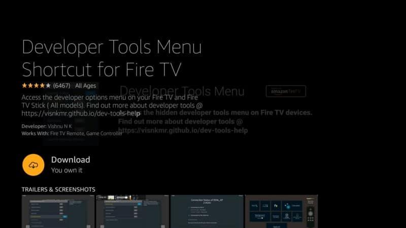 download Developer tools menu shortcut for Fire TV