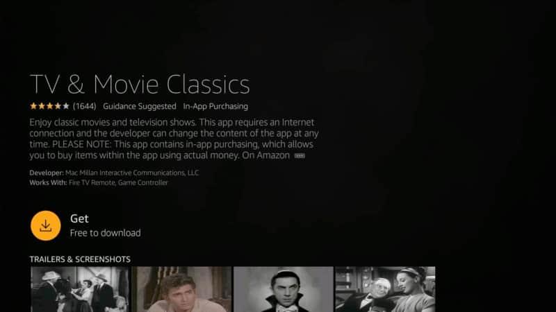 get tv & movie classic movie app