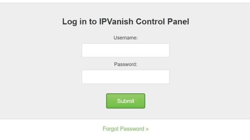 ipvanish control panel