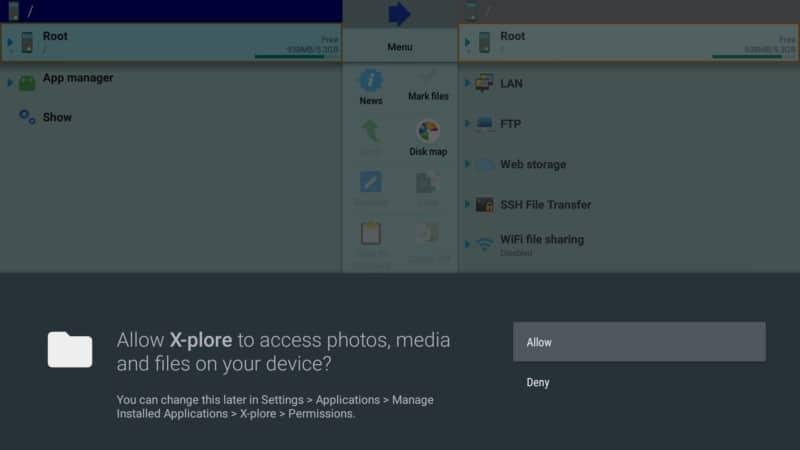 allow x-plore on firestick