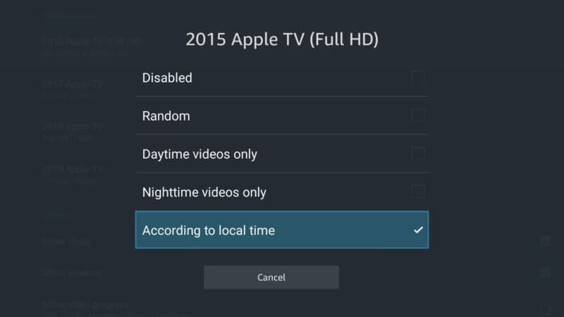 apple tv according to local time