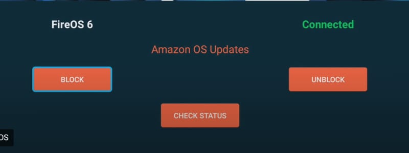 fireos Update blocker connected