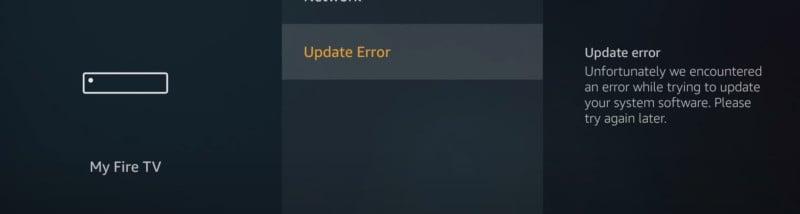 my fire tv update error