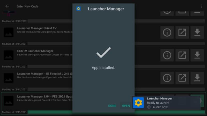 open launcher manager firestick