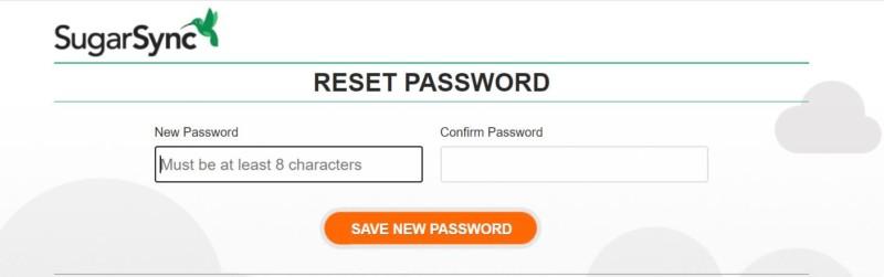 sugarSync new password
