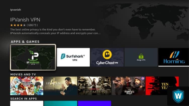 IPVanish app Amazon Firestick