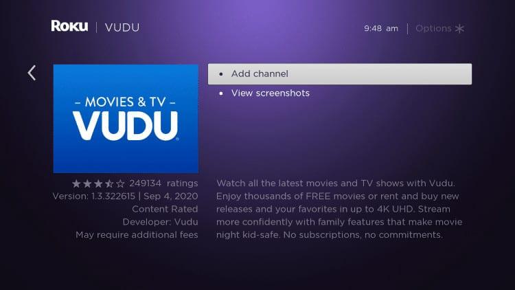 add channel vudu on roku