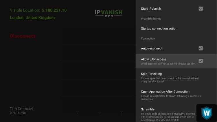 allow lan access IPVanish