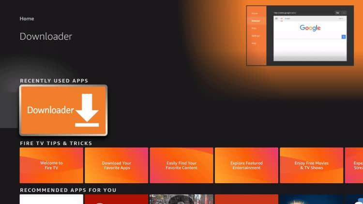 launch downloader app on firestick