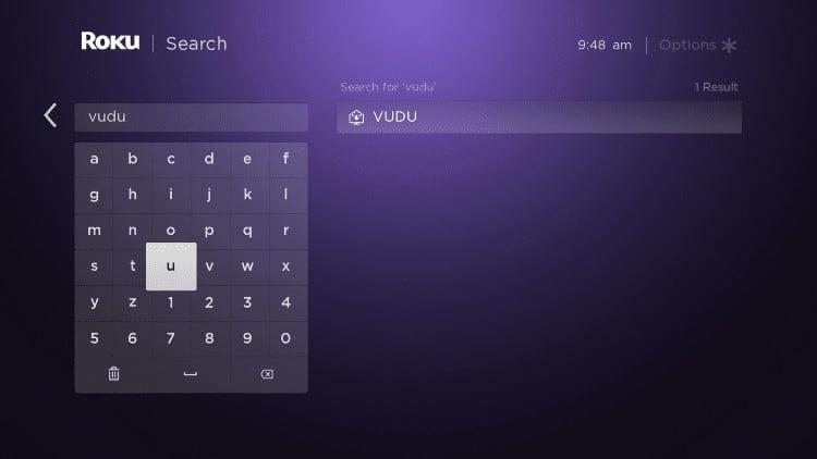 roku search vudu
