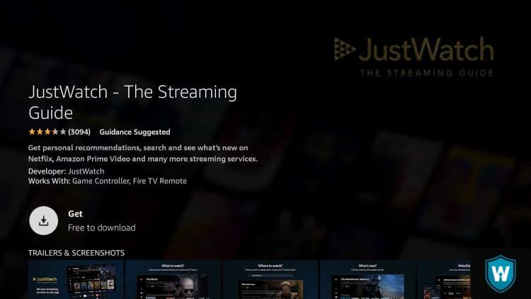 get justwatch app on firestick